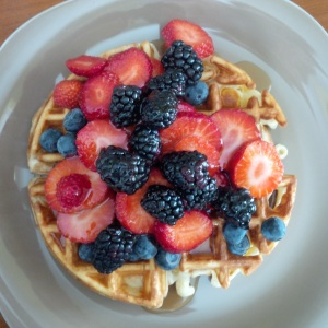 Home made Waffle and Fruit